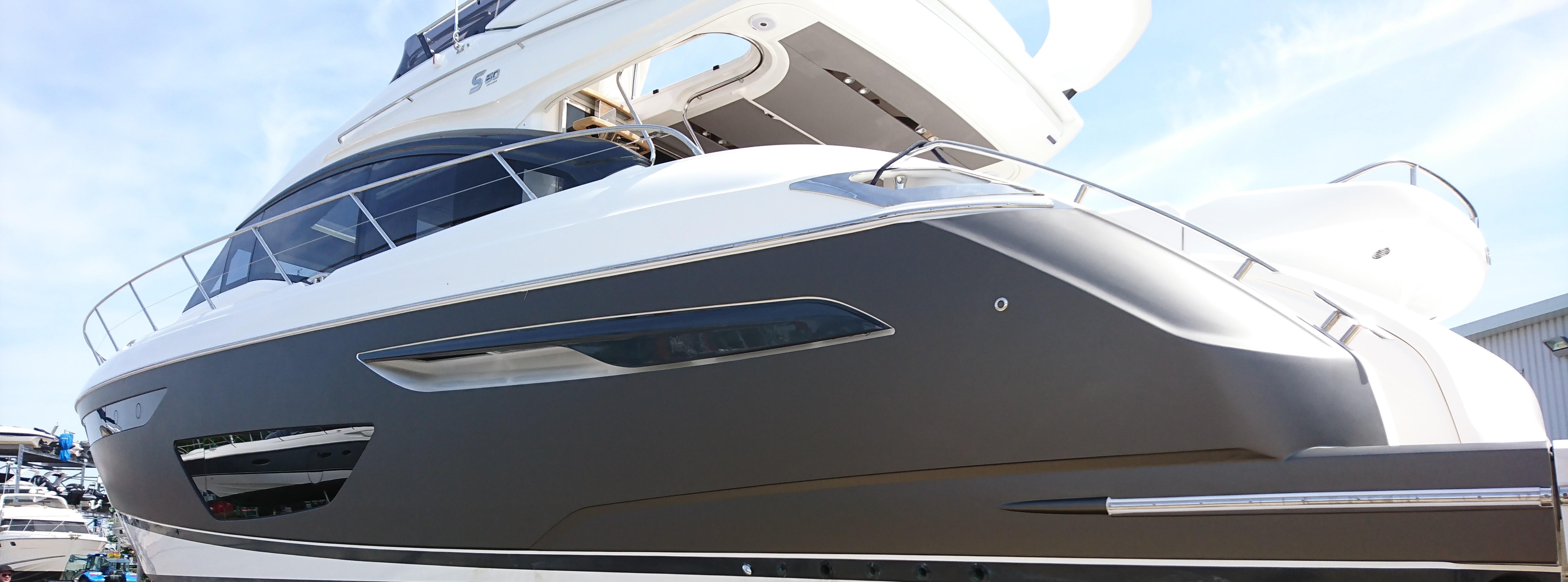 yacht with vinyl wrap